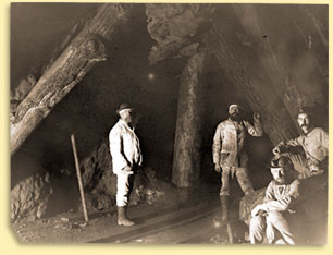 Men at work underground in the Franklin Mine
