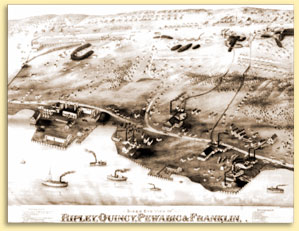 1880 bird's eye drawing of the Quincy Hillside