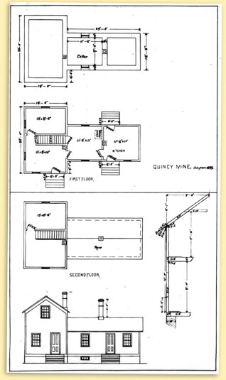 interior drawing of Quincy Mining Company worker housing